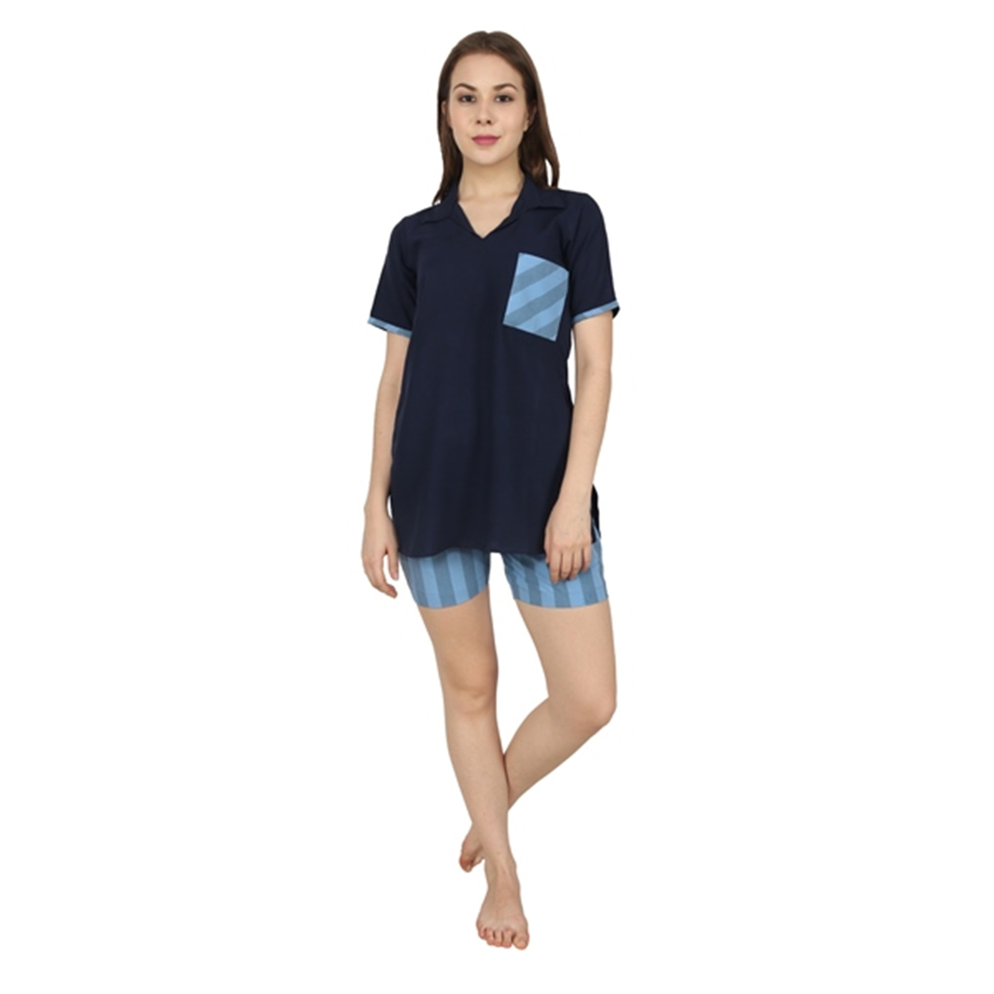 Navy Blue Striped Rayon Plus Size Night Shorts Set - Apella