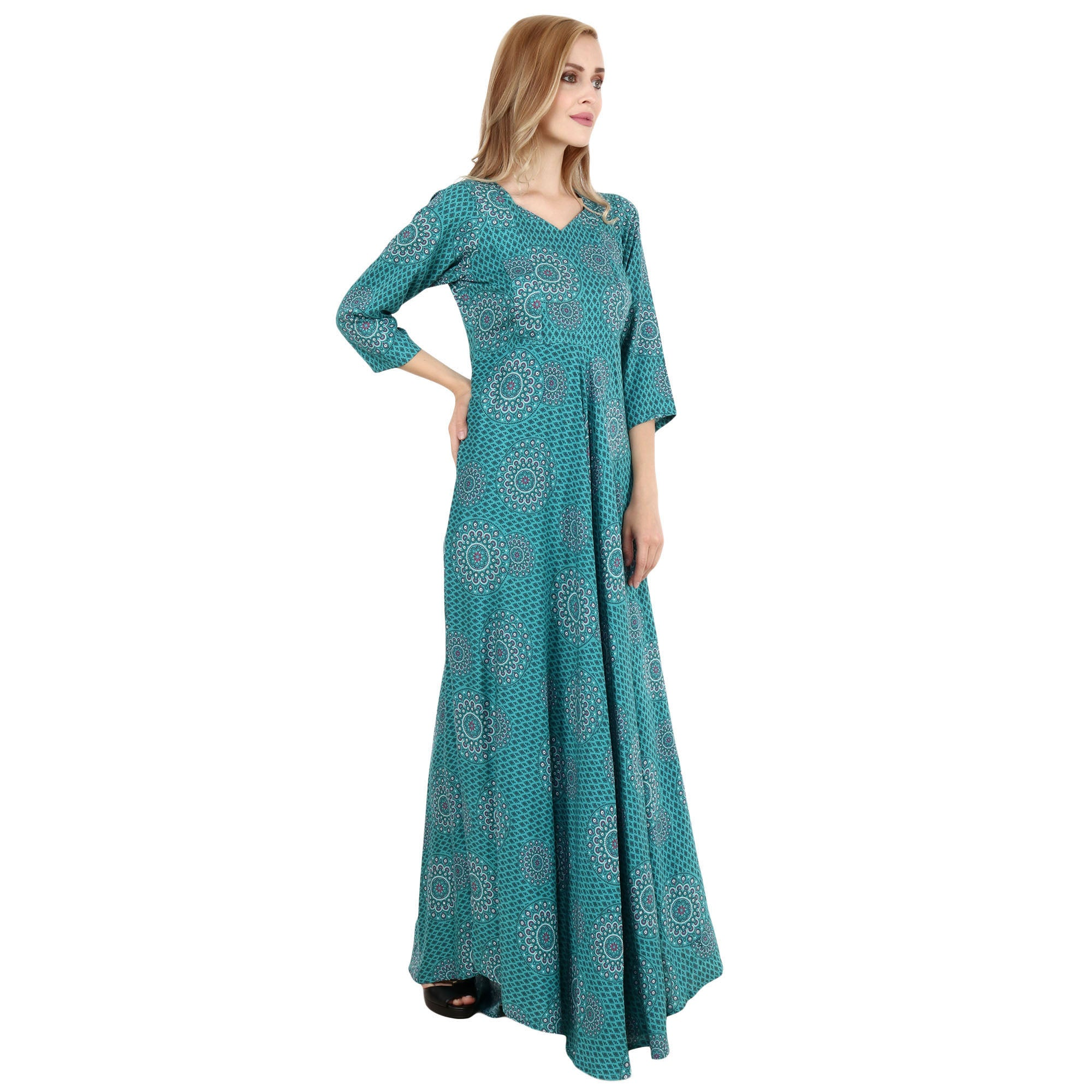 feeding, flared, maternity dresses, maxi dress, peacock green, plus size, plus size nursing and maternity dresses, printed, RAYON, soft rayon, ZIPPERS