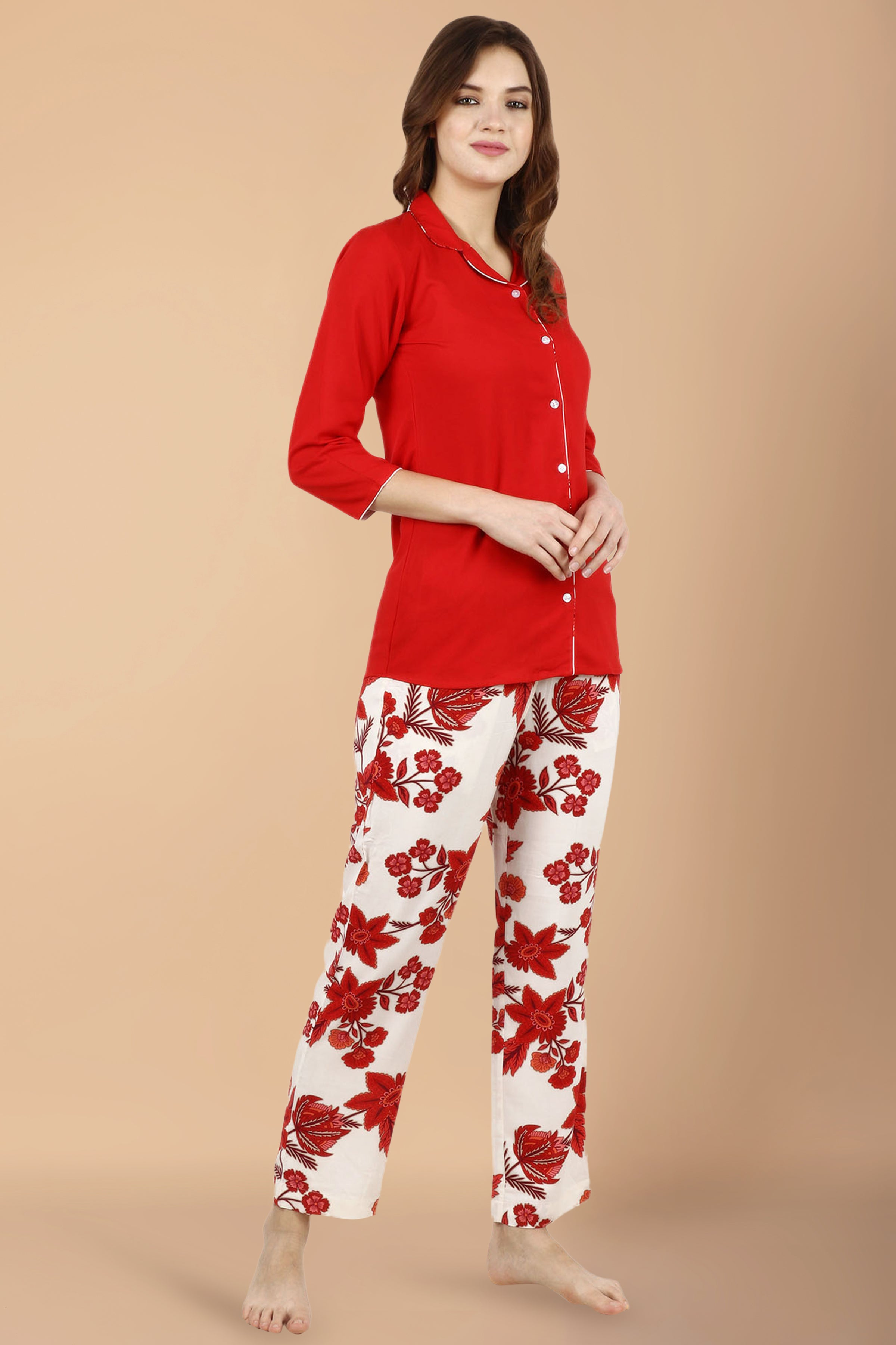 10xl, 2xl, 3xl, 4xl, 5xl, 6xl, 7xl, 8xl, 9xl, double pockets, floral, front button placket, lounge wear suits, Notched Collar, plus size night suit, printed, rayon, red