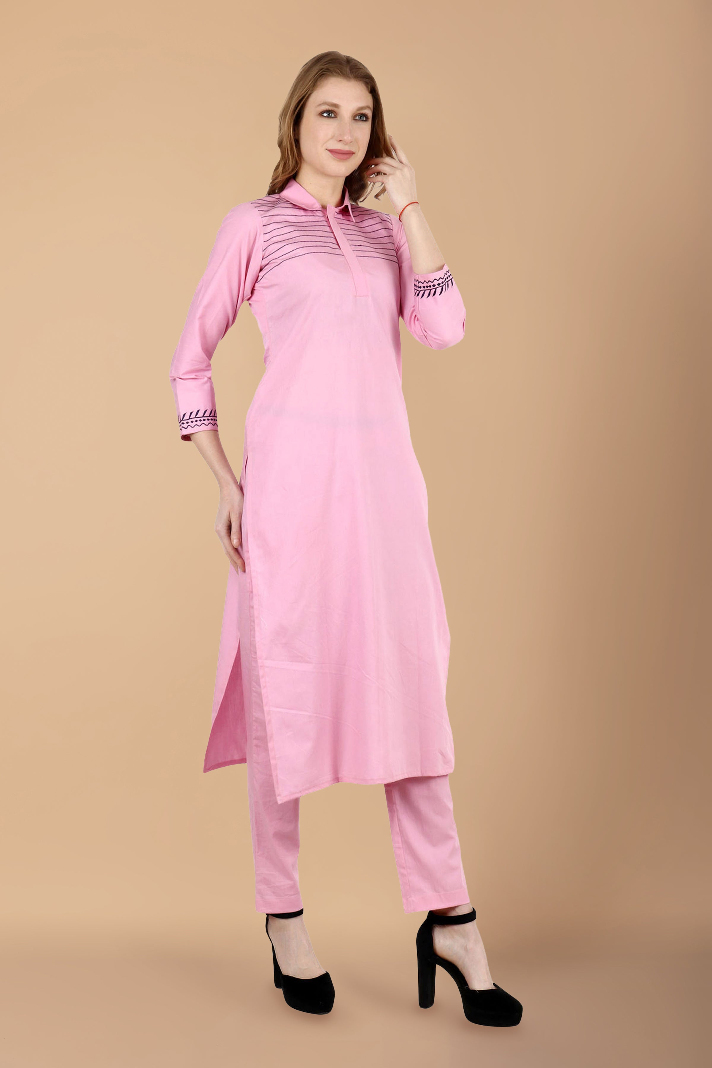 all sizes, collar, COTTON, embroidered, KURTA SET, kurta suits, palazzo set, palazzo suits, pink, plus size, salwar suit, thread work