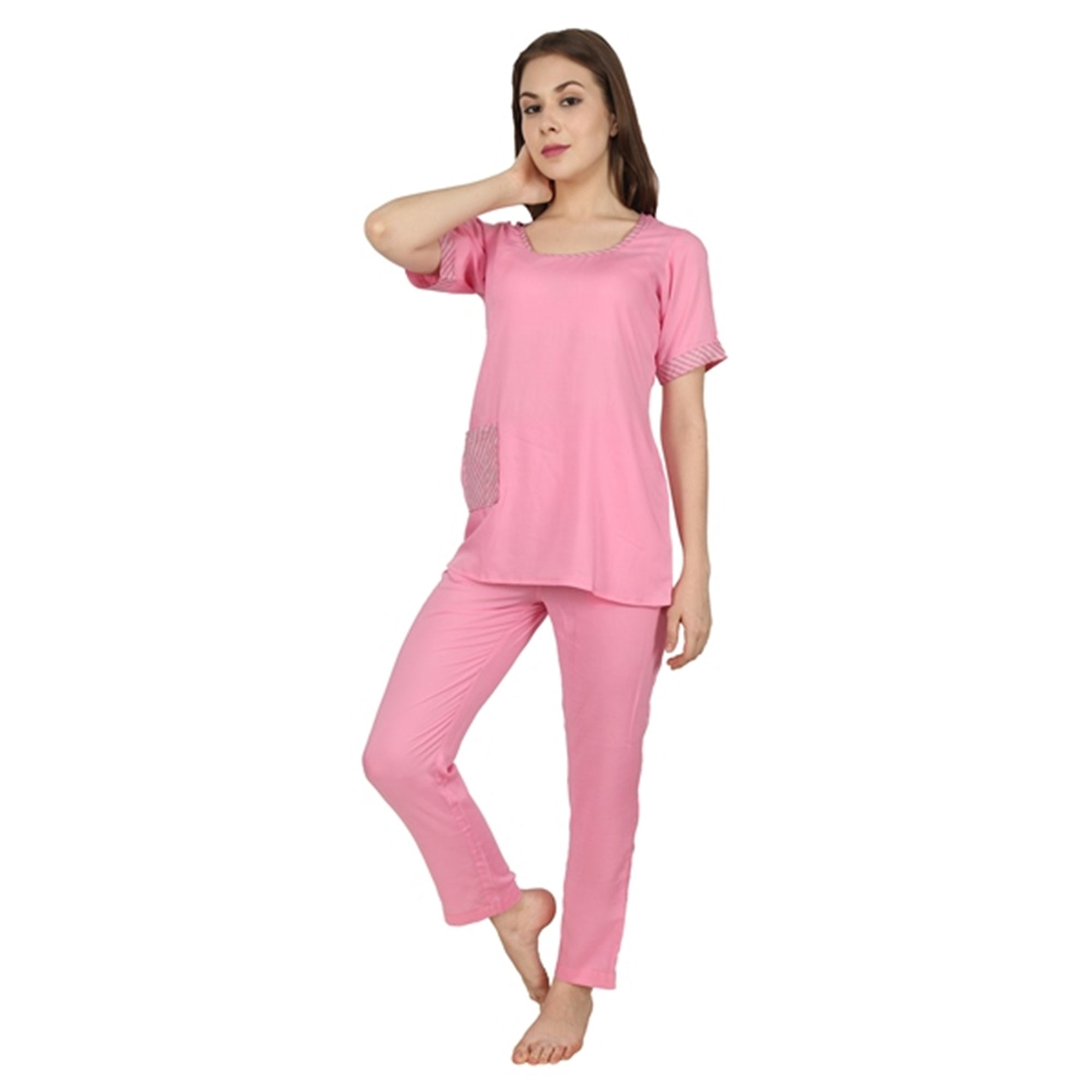 Solid Pink Night Suit - Apella