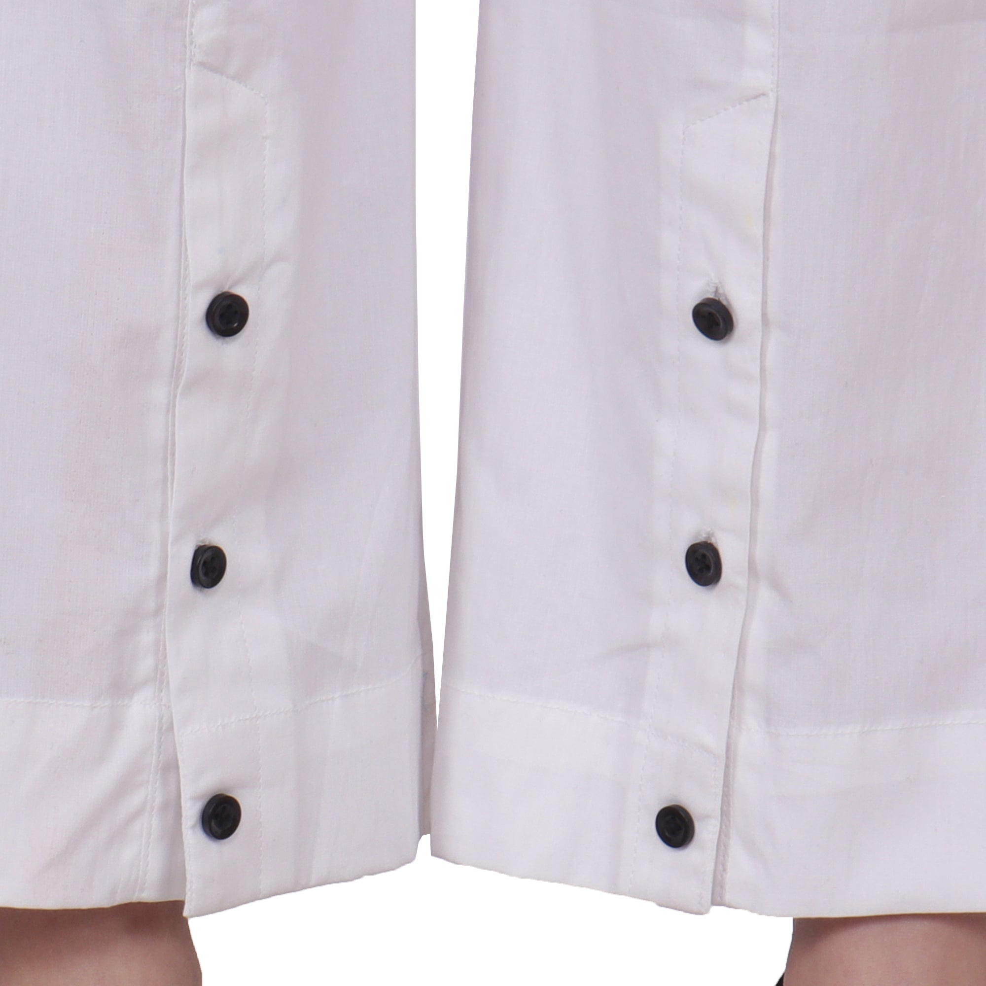 White Buttoned Cotton Pants - Apella