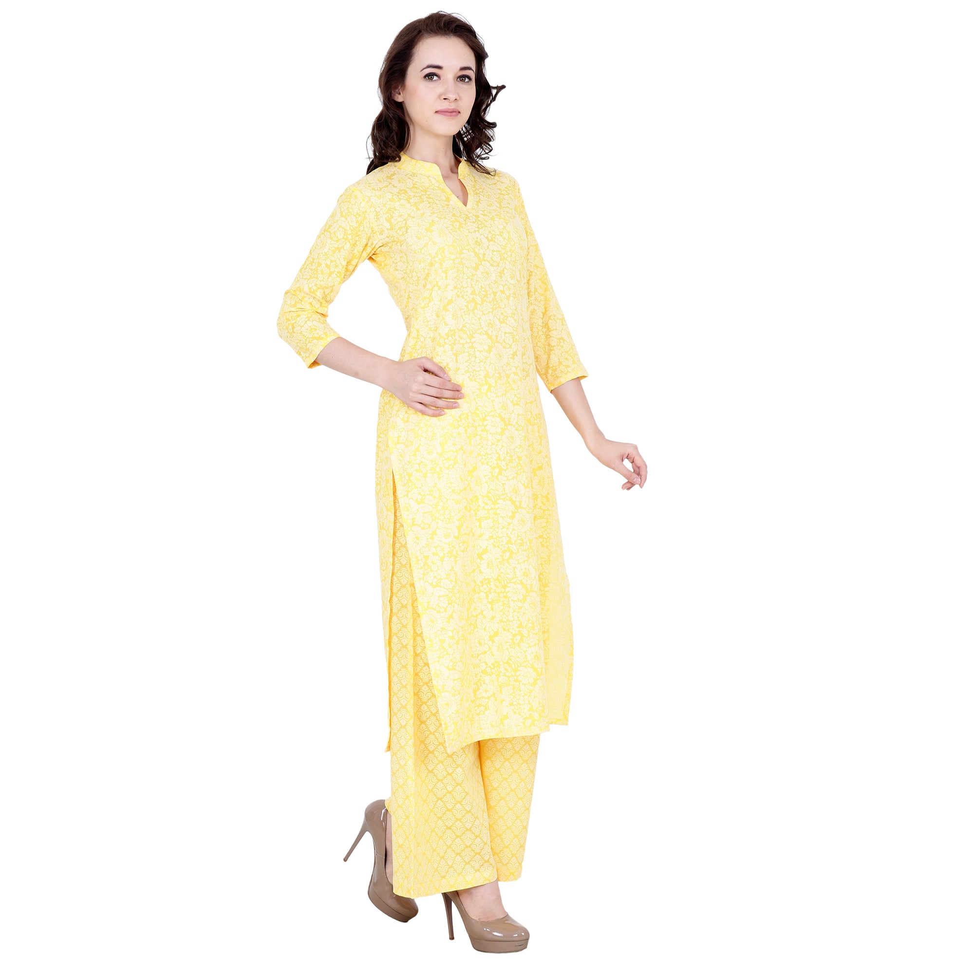 3/4 quarter sleeves, all sizes, cotton brasso, floal, kurta suits, mandarin, palazzo suits, plus size, pluz size, self embossing pattern, yellow