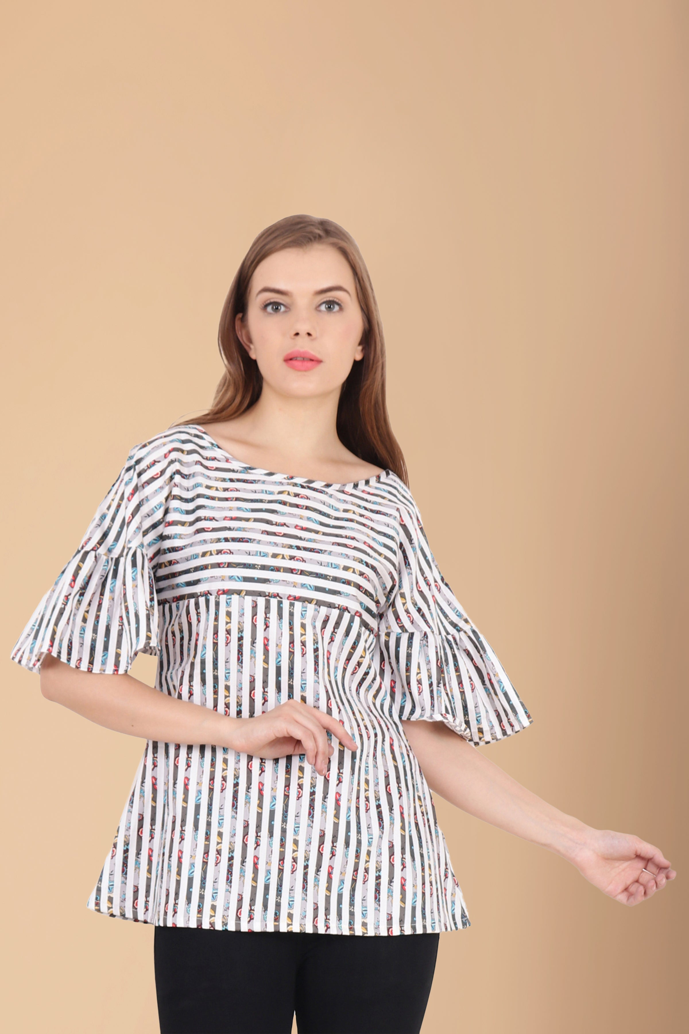 10XL, 2XL, 3XL, 4XL, 5XL, 6XL, 7XL, 8XL, 9XL, Black & White, Boat, Frilled, Glaced Cotton, PLUS SIZE TOP, PRINT, Stripes, TOP