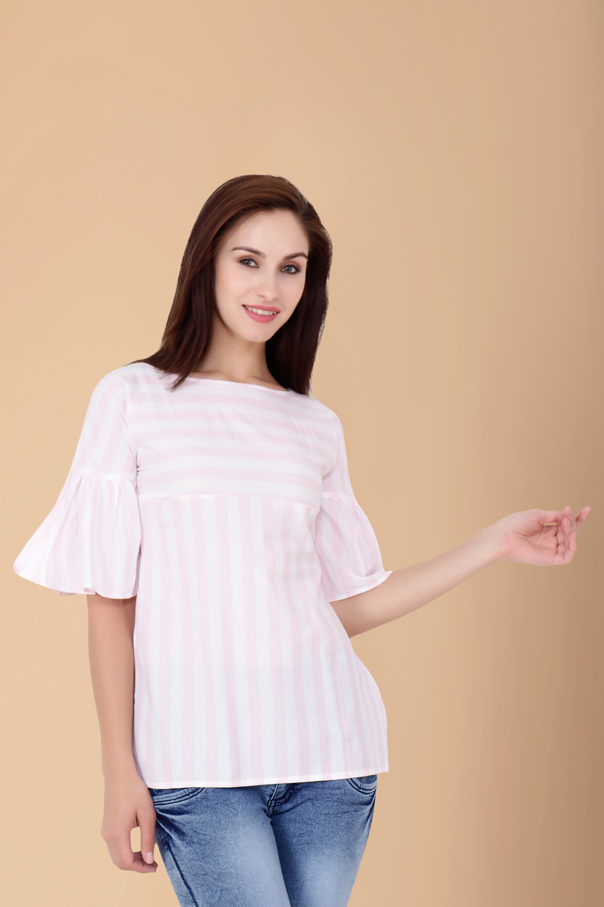 10XL, 2XL, 3XL, 4XL, 5XL, 6XL, 7XL, 8XL, 9XL, BOAT, CHERRY, Cotton, Frilled, FRILLED SLEEVES, Key Hole, Pink, PLUS SIZE TOP, Striped, STRIPES