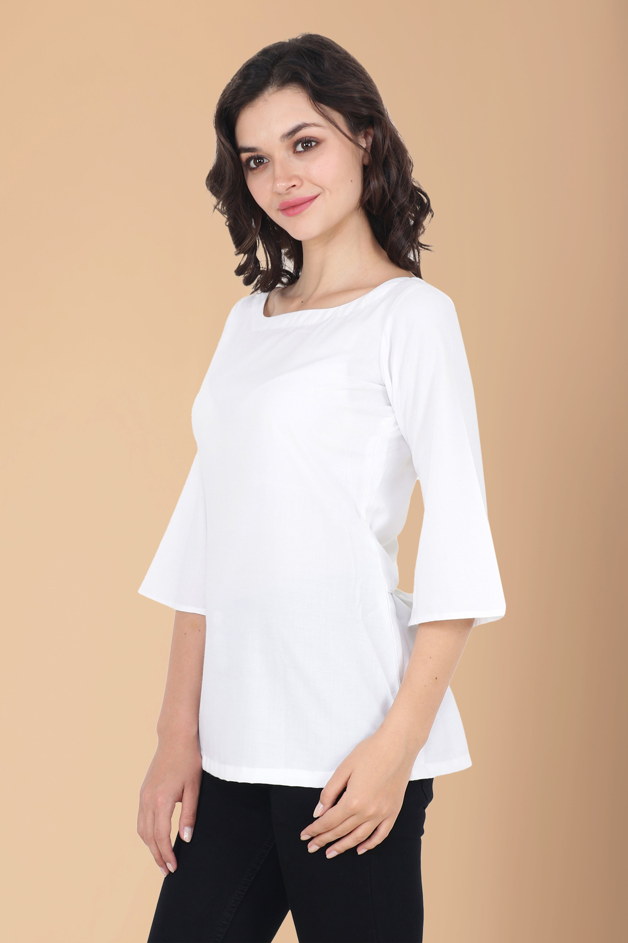 10XL, 2XL, 3XL, 4XL, 5XL, 6XL, 7XL, 8XL, 9XL, BACK BELTED, COTTON, LOOSE, PLUS SIZE TOP, SOLID, WHITE