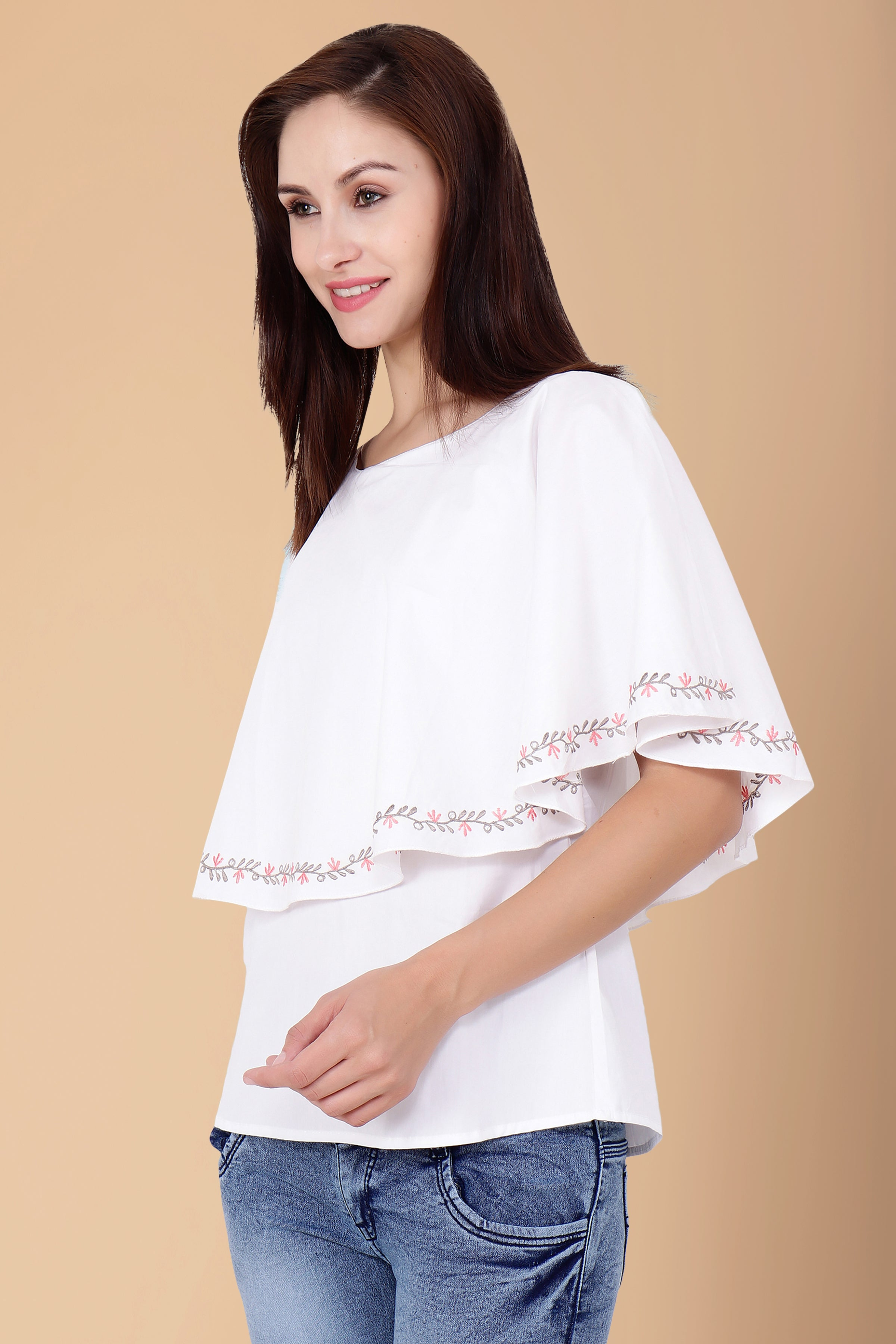10XL, 2XL, 3XL, 4XL, 5XL, 6XL, 7XL, 8XL, 9XL, BOAT, Cape, Cotton, EMBROIDERY, PLUS SIZE TOP, Solid, THREAD WORK, White