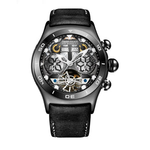 The  Reef Tiger RT6500 Aurora Air Bubble Mens Automatic Sport Watch. Skeleton Mechanics | Stainless Steel | Waterproof | Water resistant 50M | Day and Date | Elegant | Minimalist | Illusion Visual Art Mineral.