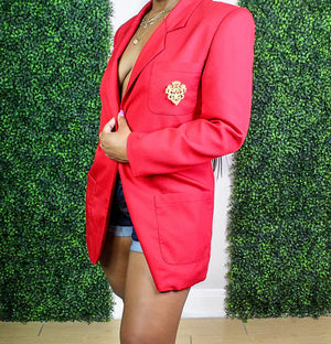 Red Solid Blazer with Gold Crest