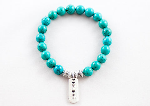 Believe Tag ~ Turquoise Blue Howlite