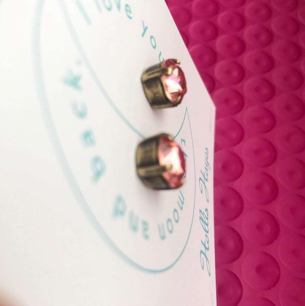 Earrings of the week - Crushed Rose & Brass