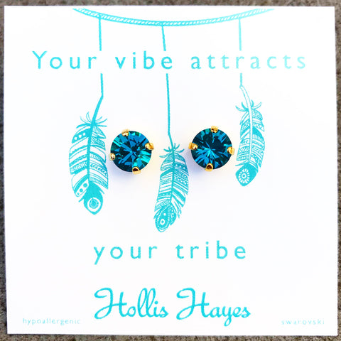 Turquoise Swarovski studs - Your vibe attracts your tribe