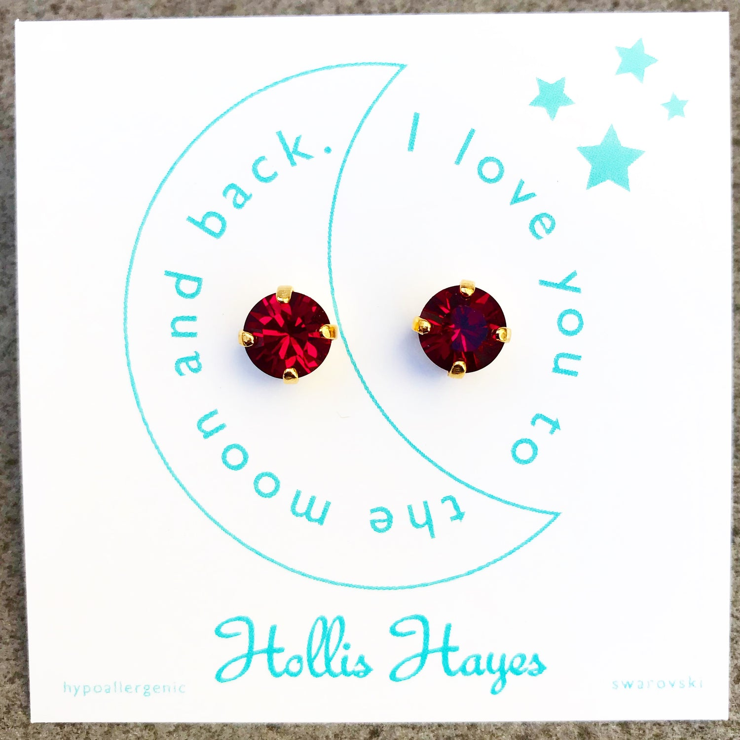 Dark ruby Swarovski studs - I love you to the moon and back