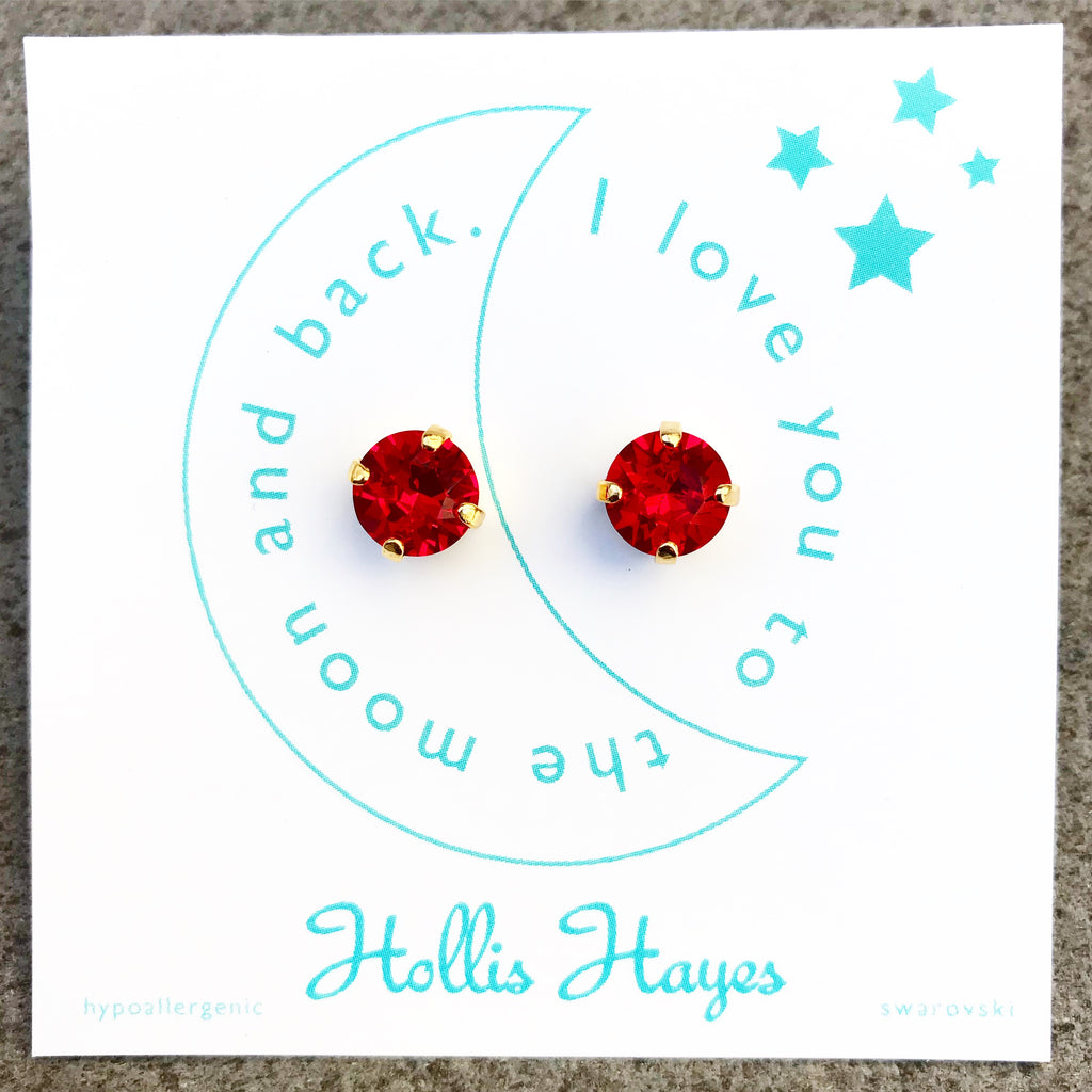 Red crystal Swarovski studs - I love you to the moon and back