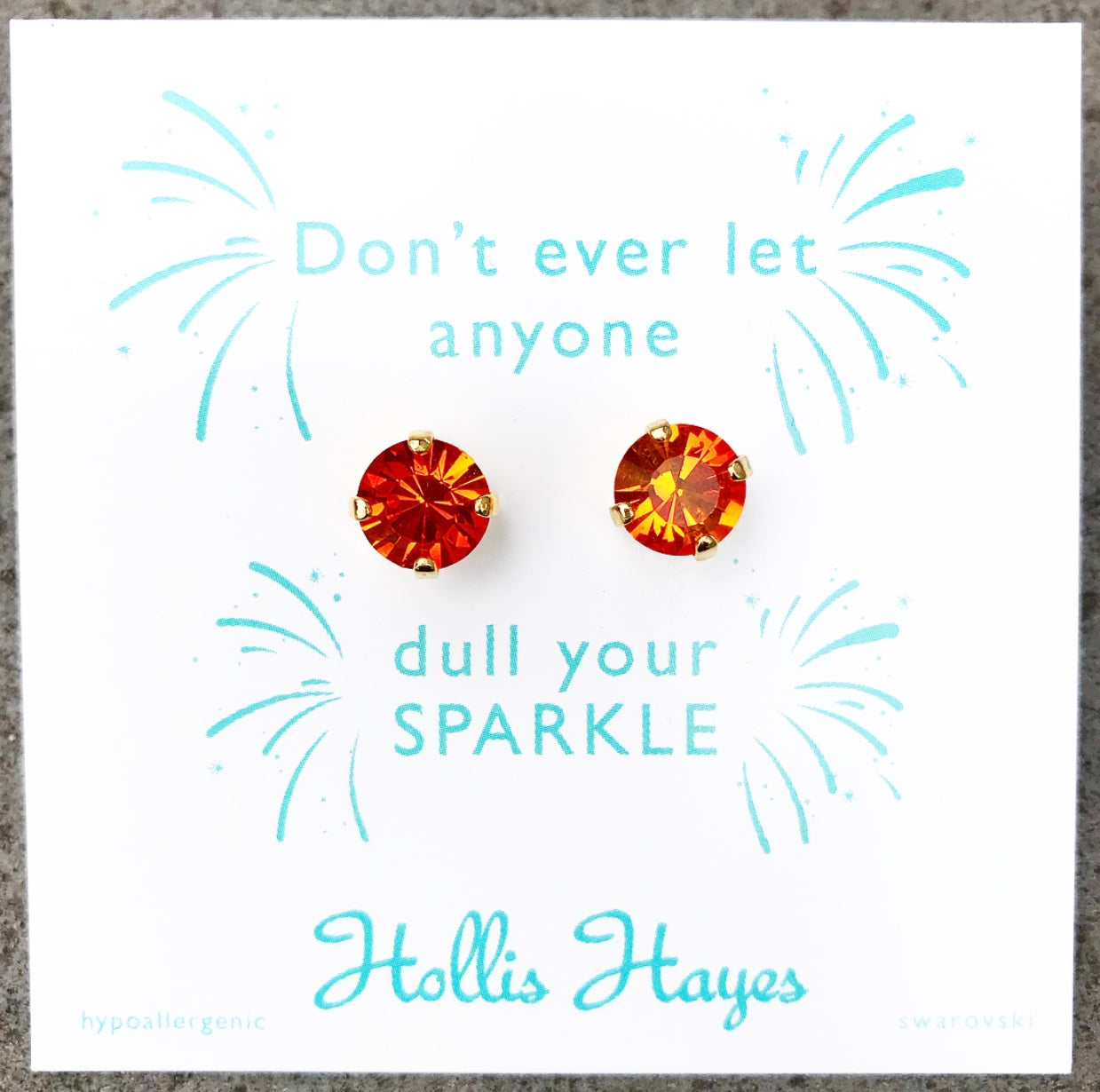 Crushed burnt orange Swarovski studs - Don't ever let anyone dull your sparkle