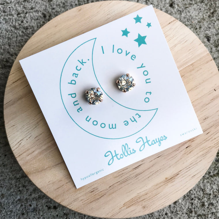 Crystal Moonlight Swarovski studs - I love you to the moon and back
