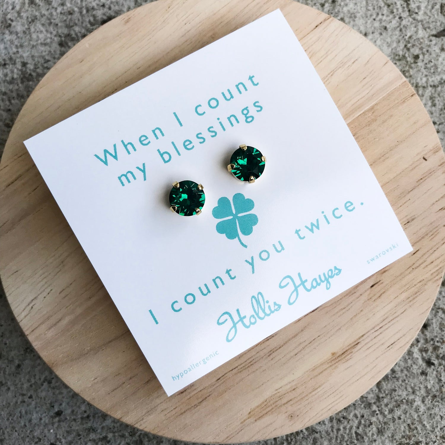 Emerald Swarovski studs - When I count my blessings I count you twice
