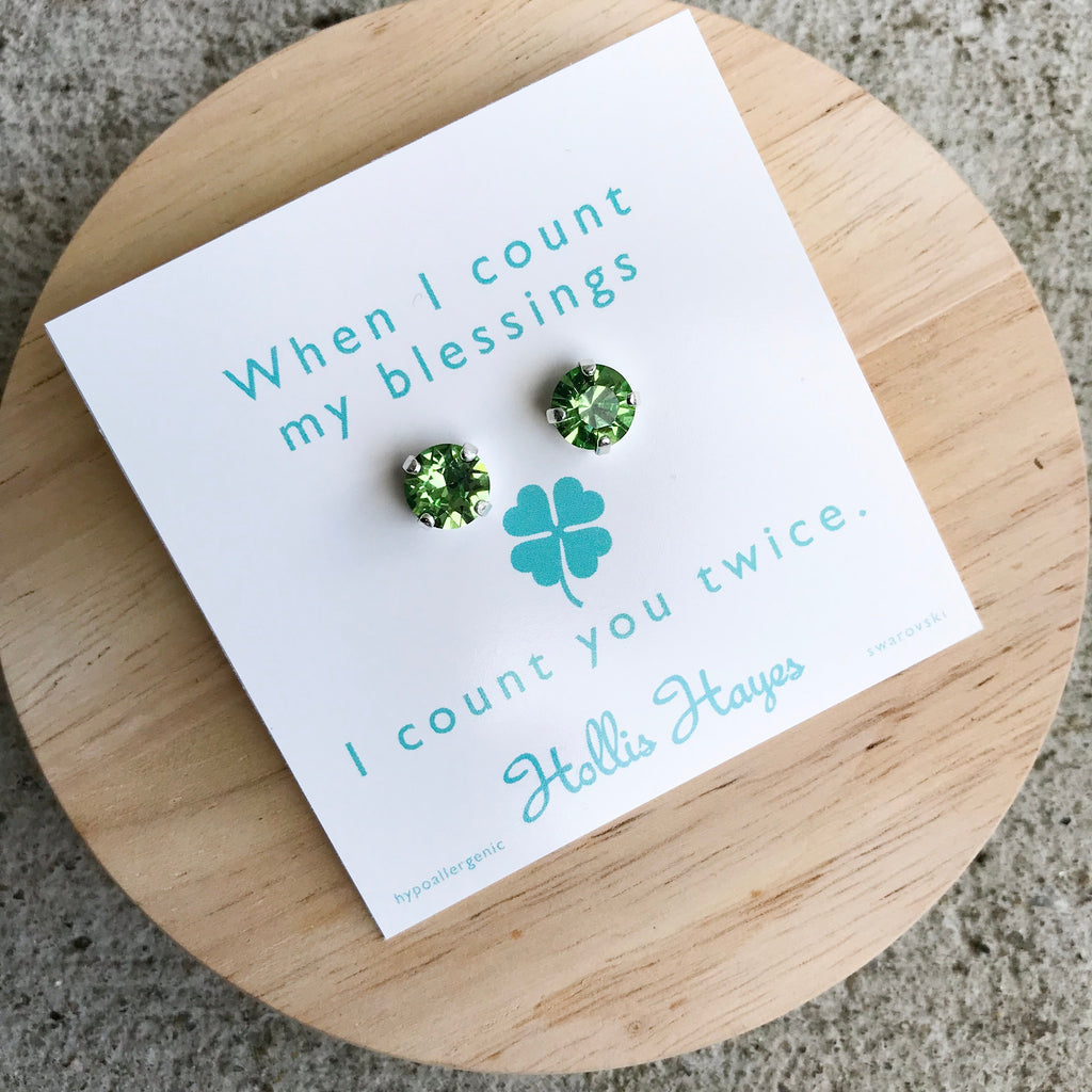 Peridot Swarovski studs - When I count my blessings I count you twice