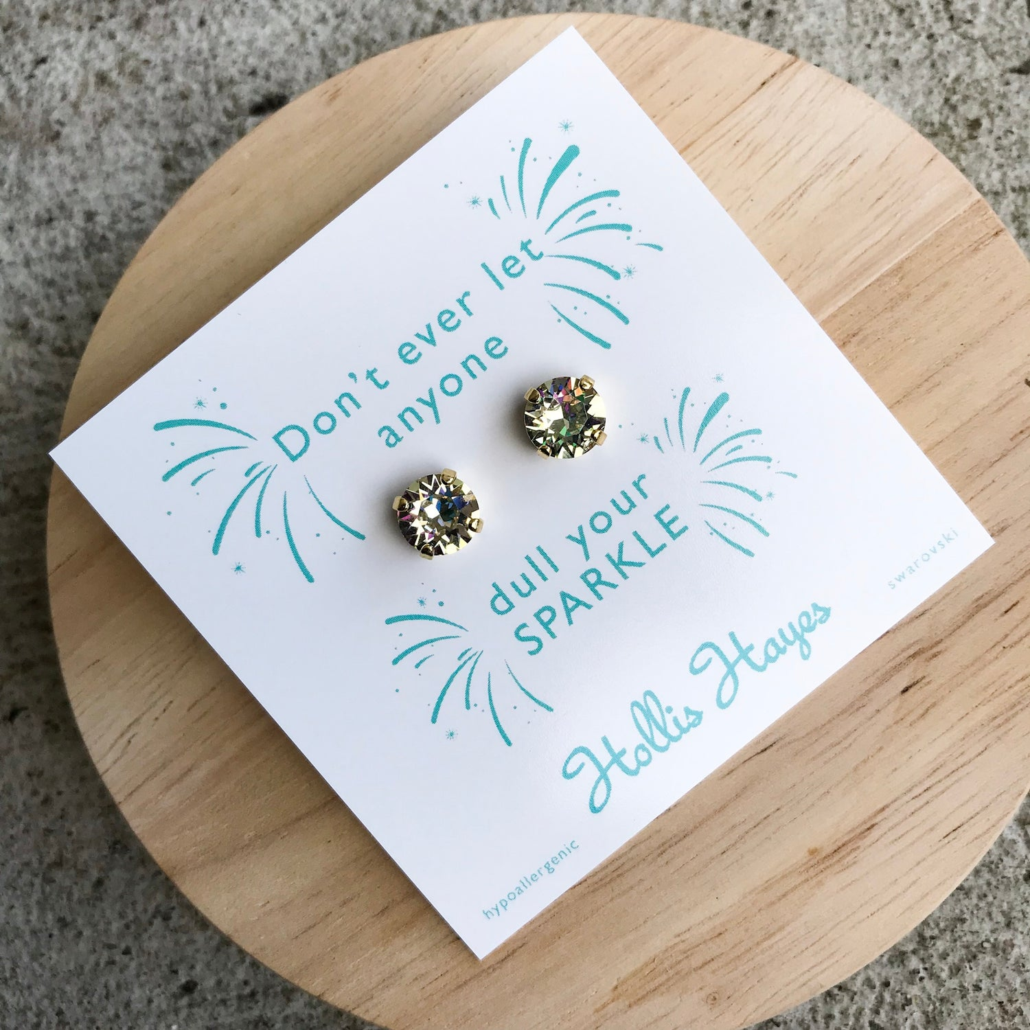 Crushed golden crystal Swarovski studs - Don't ever let anyone dull your sparkle