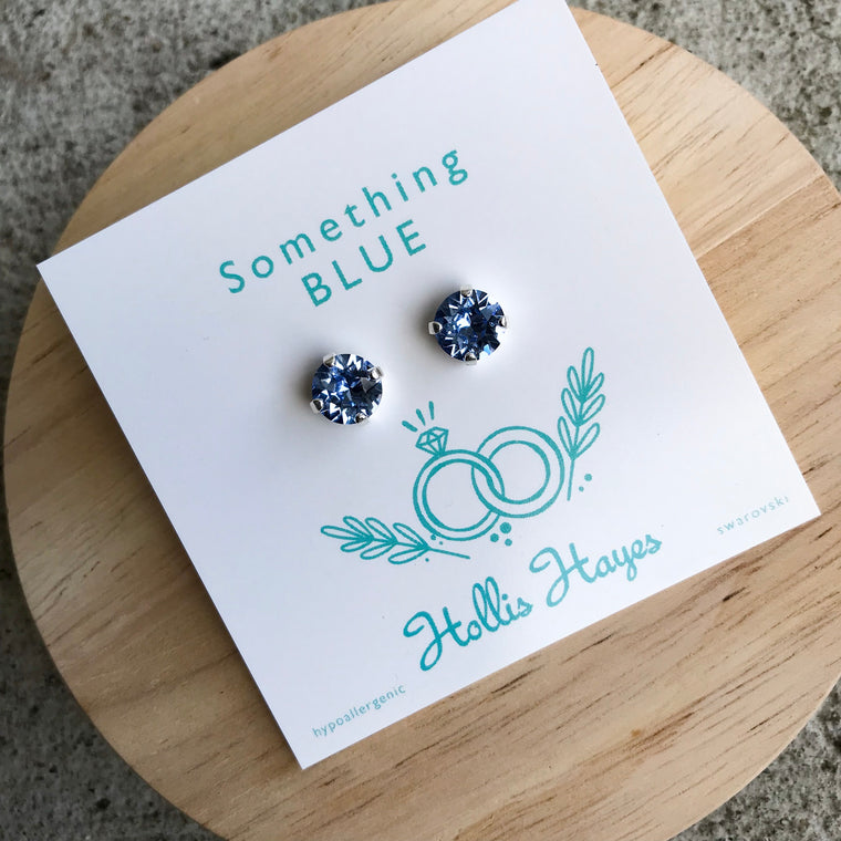 Glacier blue Swarovski studs - Something blue