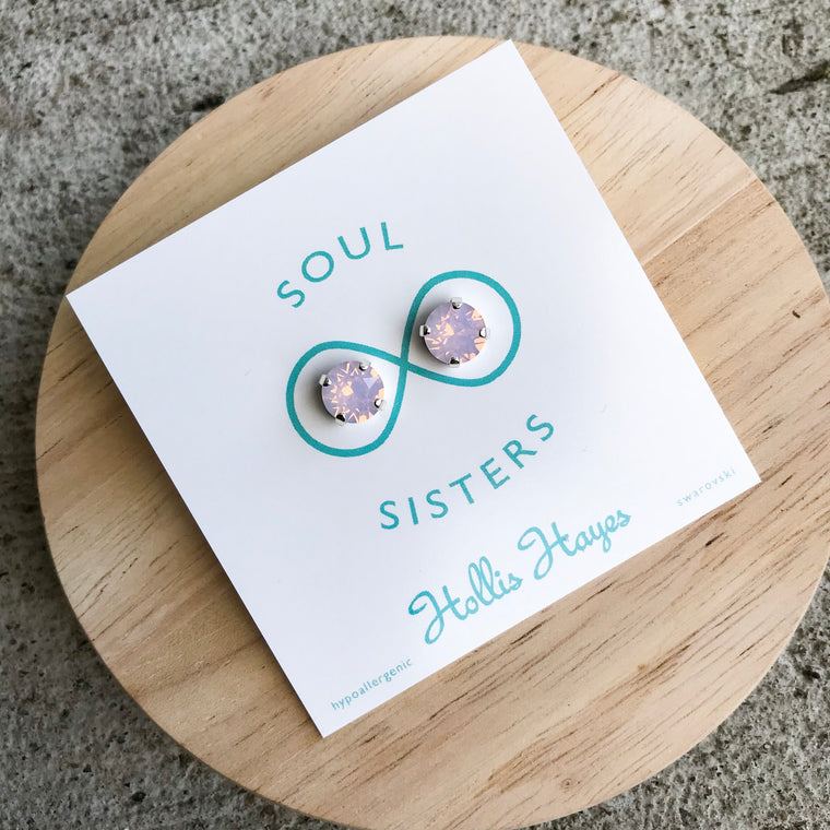 Frosted Pink Swarovski Studs -Soul Sisters