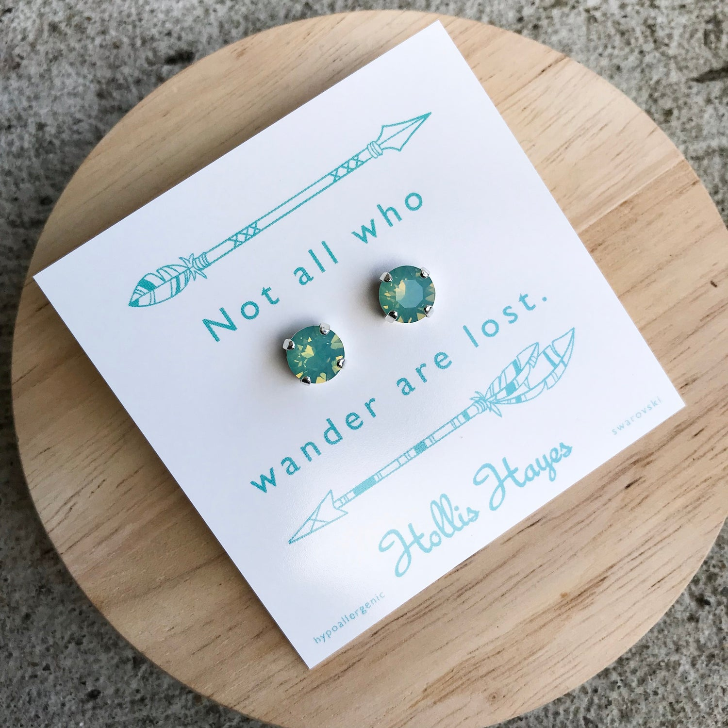 Seafoam Swarovski studs - Not all who wander are lost