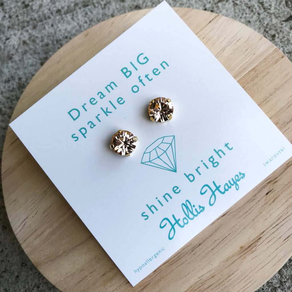 Honey golden crystal Swarovski studs - Dream big sparkle often shine bright