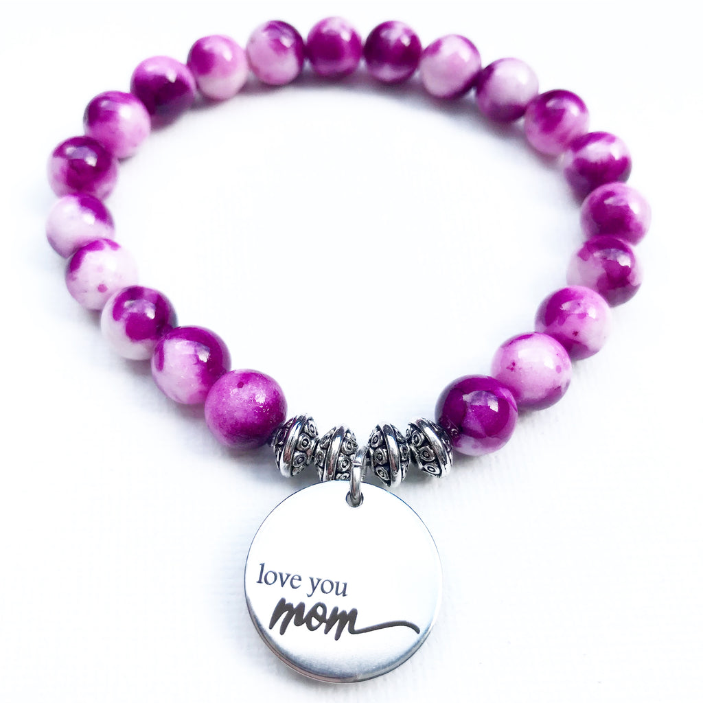 Love you mom - Pink Rainbow Jade