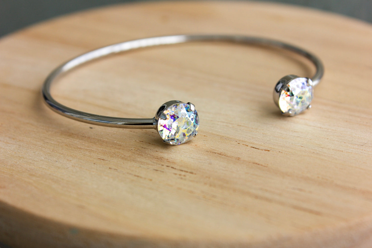 Silver Patina Swarovski Balance Bangle