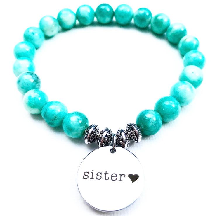 Sister - Sea foam Rainbow Jade