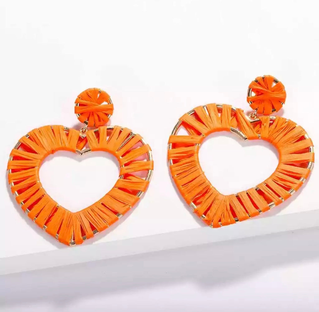 Tangerine Heart Earrings