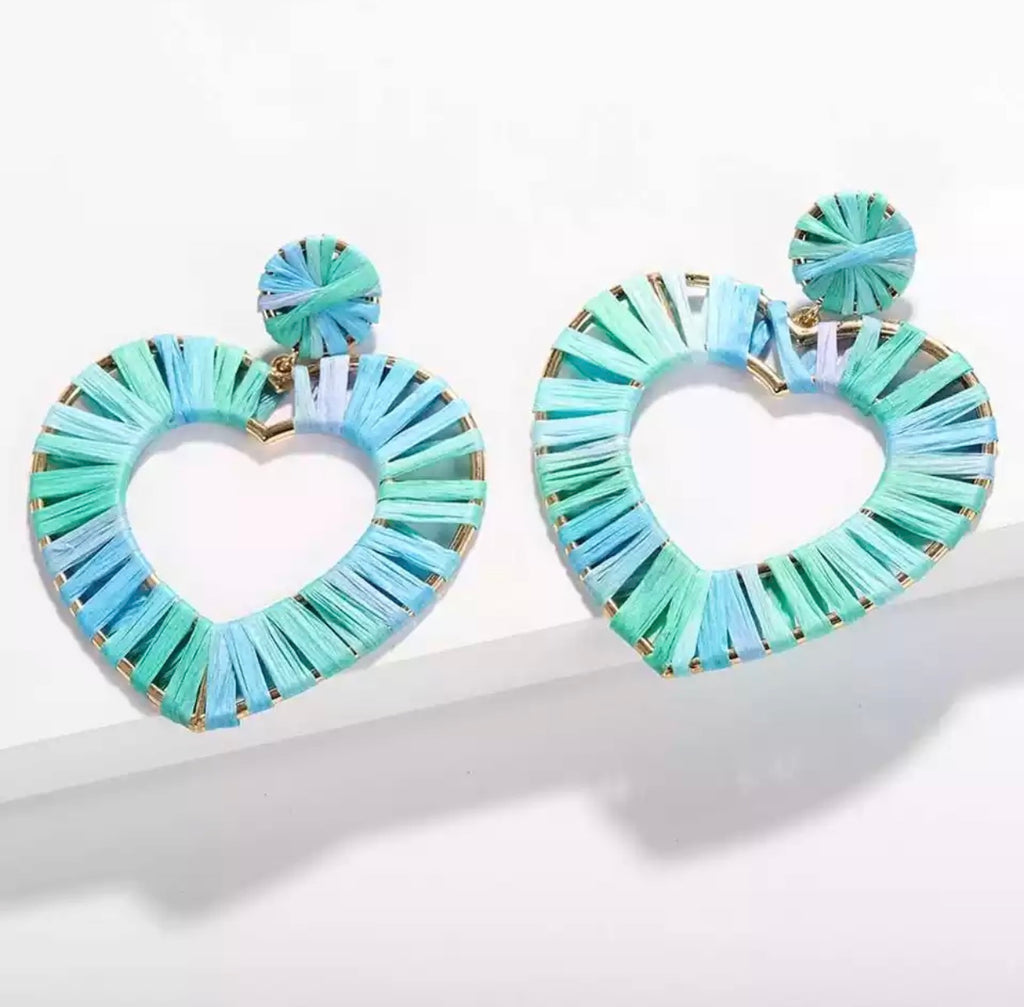 Summer Blues Heart Earrings