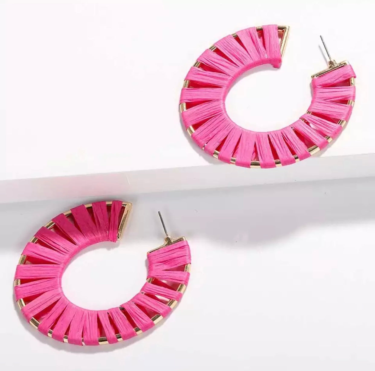 Summer Pink Hoop Earrings