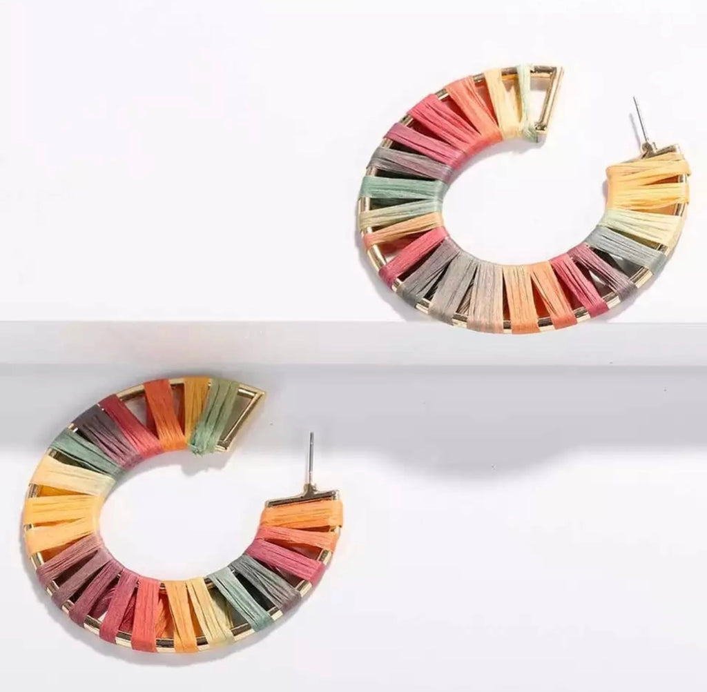 Light Rainbow Hoop Earrings