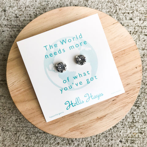 Silver Patina Swarovski studs - The world needs more of what you've got