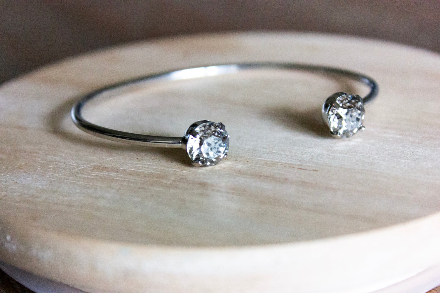 Silver Patina Swarovski Balance Bangle - silver