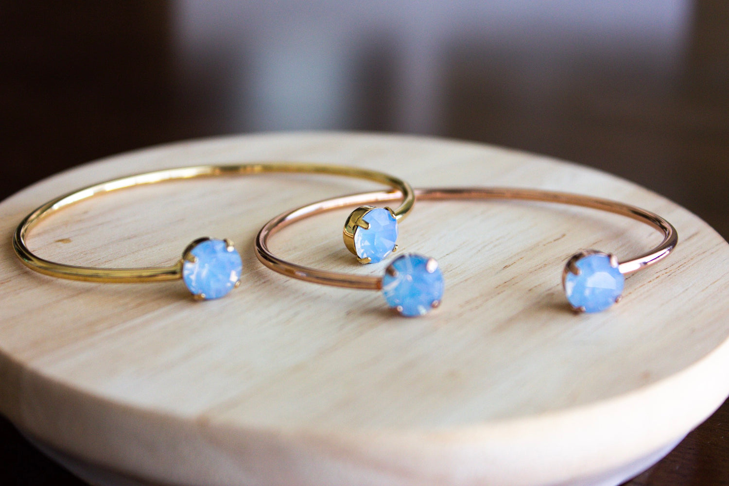 Air Blue Opal Swarovski Balance Bangle - Limited