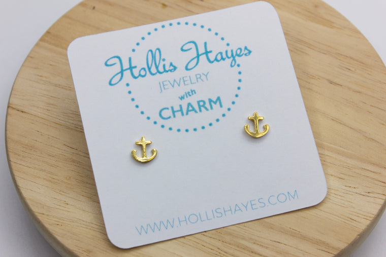 Mini Anchor Earrings - Gold