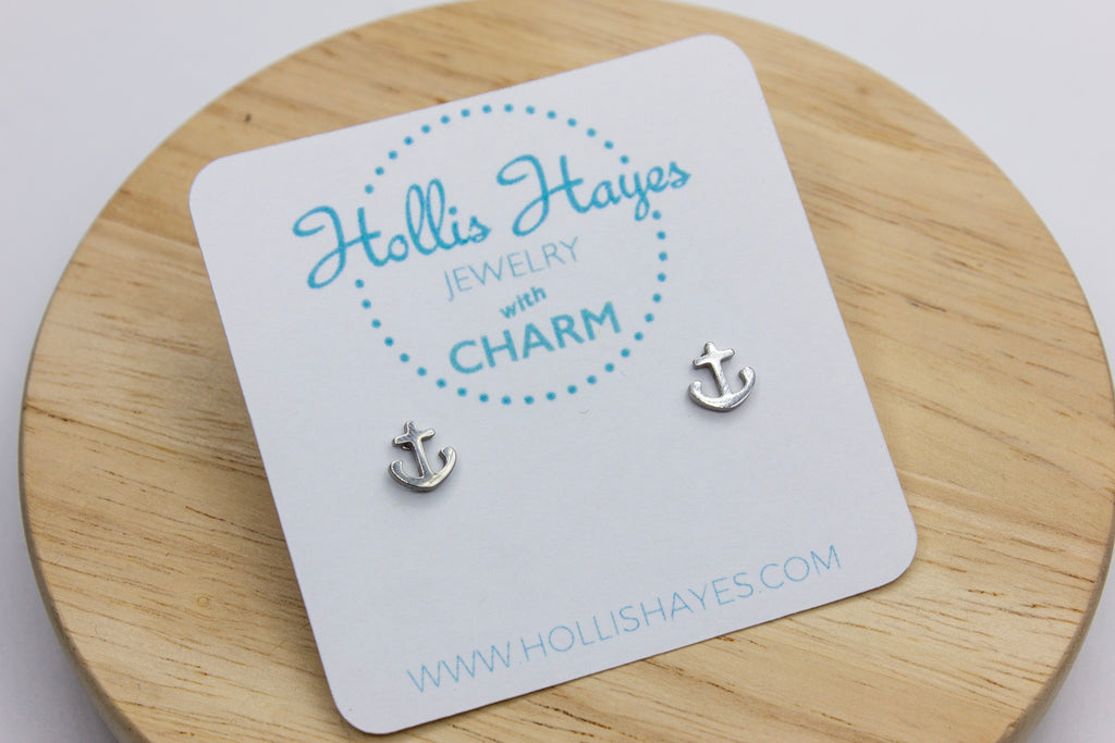 Mini Anchor Earrings - Silver
