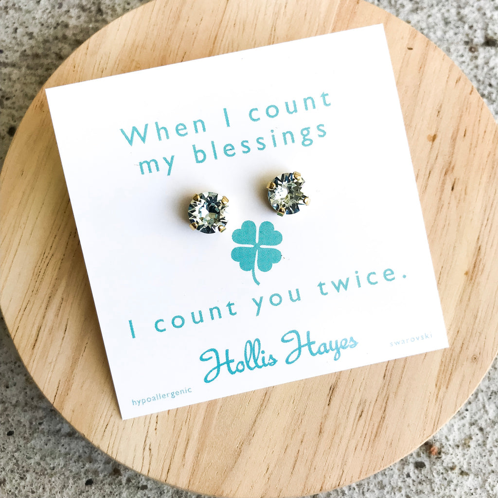 Pale Turquoise Swarovski studs - When I count my blessings I count you twice