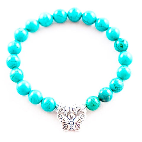 Butterfly ~ Turquoise Blue Howlite