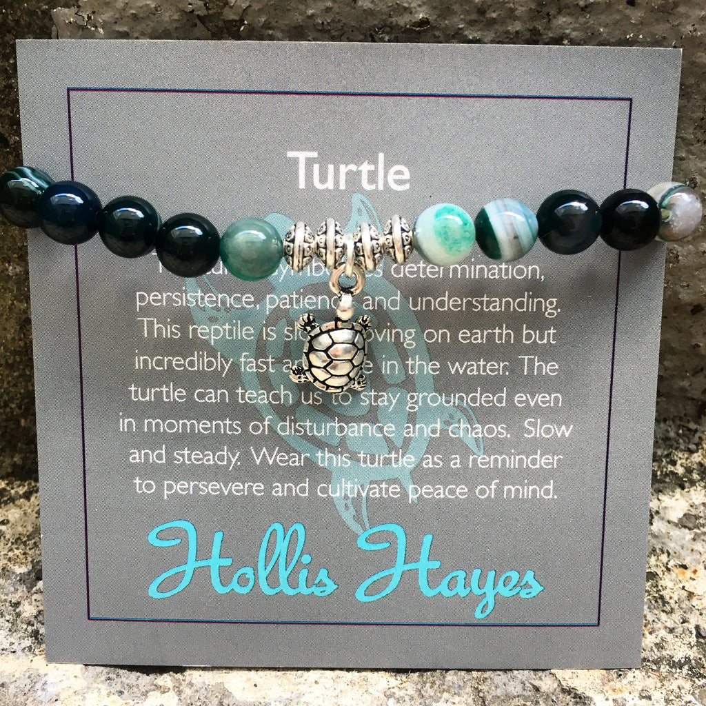Turtle - Green line agate