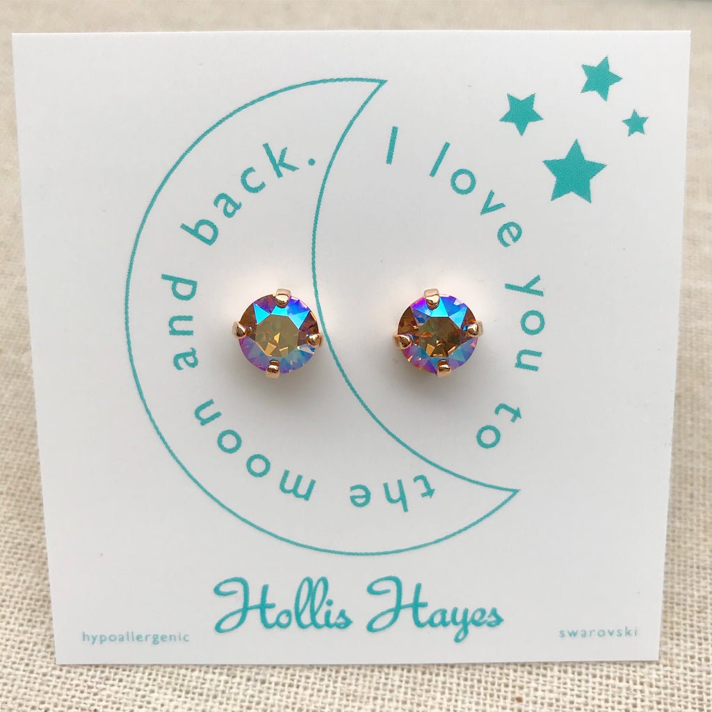 Topaz Swarovski studs - I love you to the moon and back