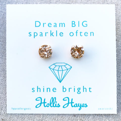 Autumn gold Swarovski studs - Dream big sparkle often shine bright