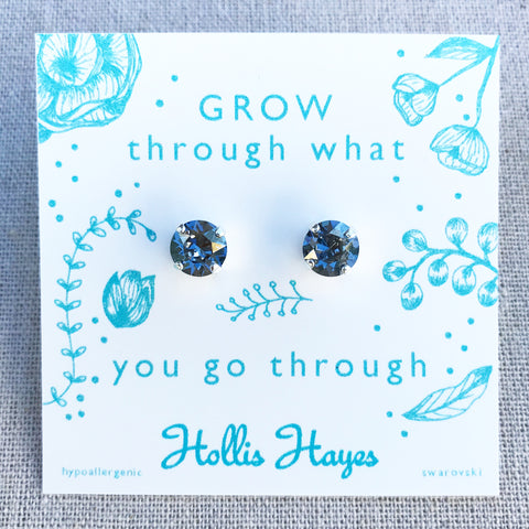 Storm gray Swarovski studs - Grow through what you go through