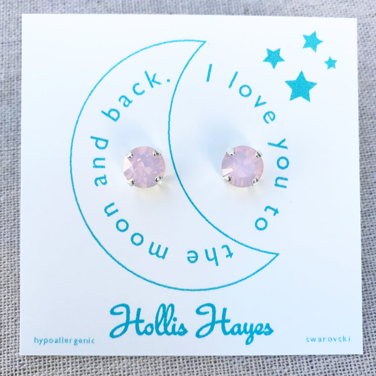 Frosted pink Swarovski studs - I love you to the moon and back