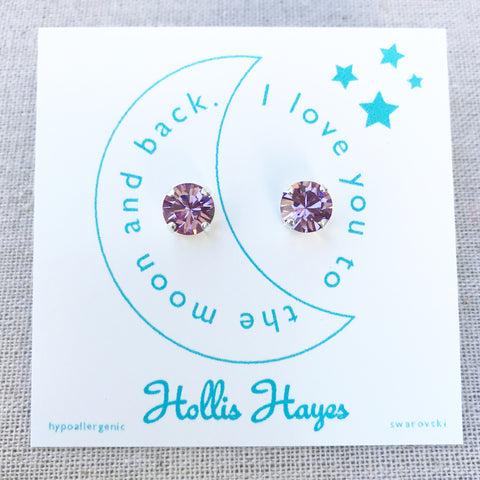 Purple Rain Swarovski studs - I love you to the moon and back