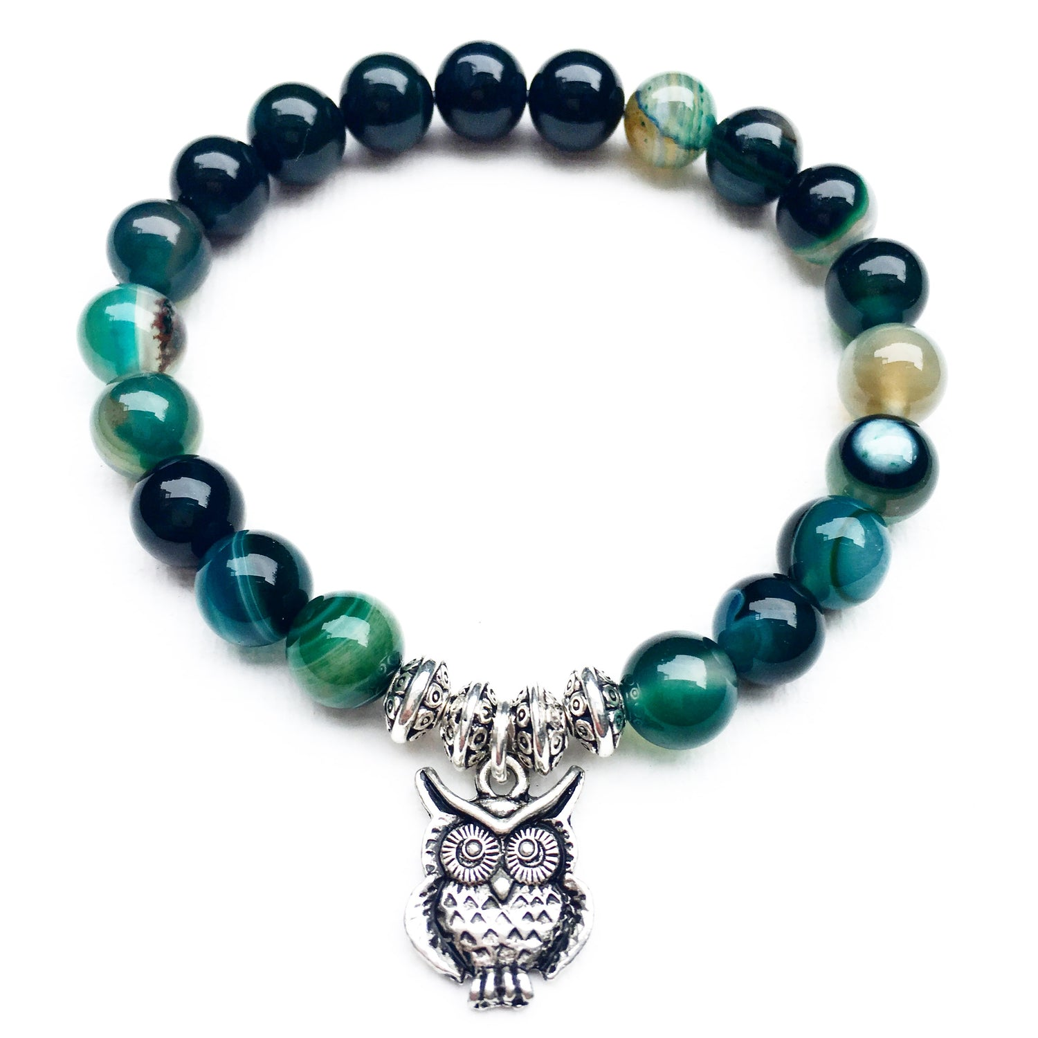 Owl - green line agate
