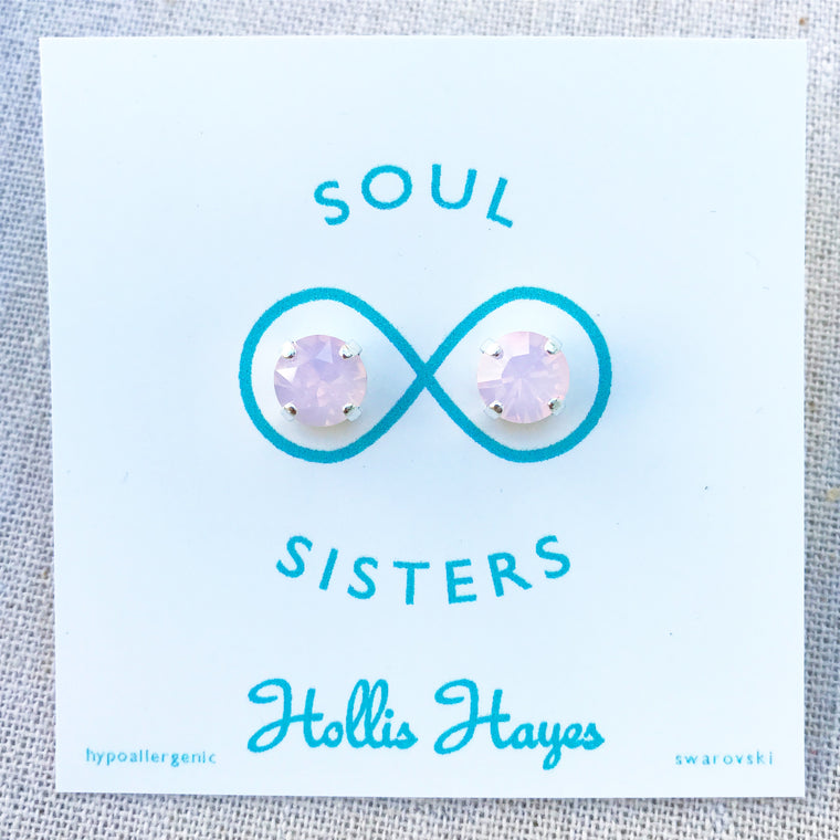 Frosted pink Swarovski studs - Soul Sisters