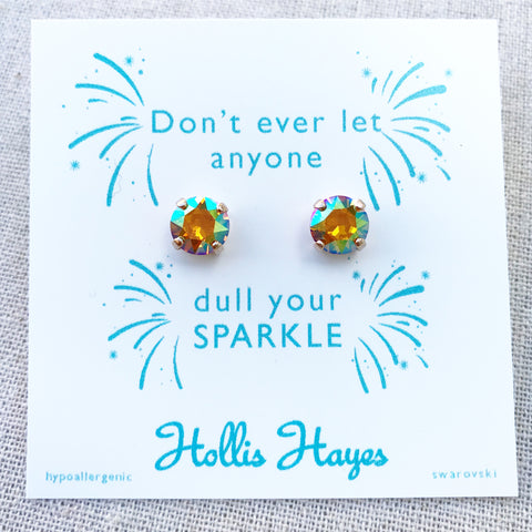 Topaz Swarovski studs- Don't ever let anyone dull your sparkle